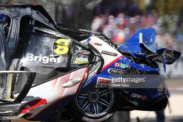 The car of Jason Bright in the Team BOC Holden is pictured after a heavy crash during race three of the V8 Supercars Championship Series at the...