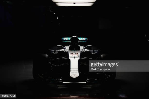 The car of Lewis Hamilton of Great Britain and Mercedes GP sits in the Mercedes AMG garage after qualifying for the Formula One Grand Prix of Japan...
