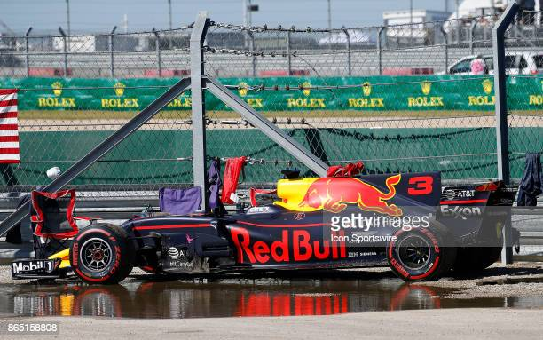 The car of Red Bull Racing driver Daniel Ricciardo of Australia sits behind the safety barrier during the United States Grand Prix on October 22 at...