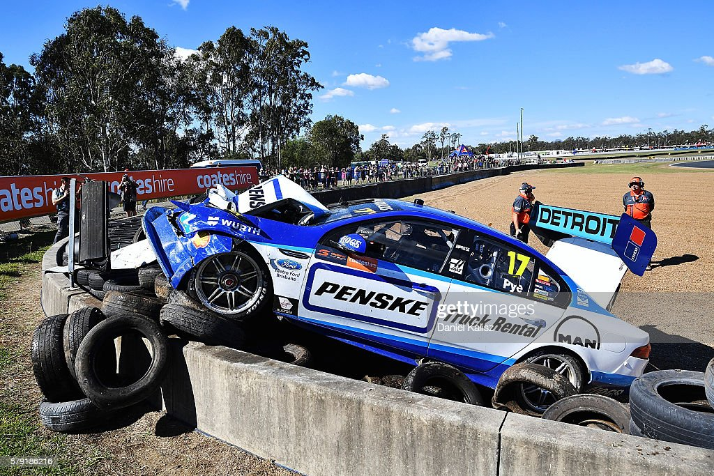 The car of Scott Pye driver of the #17 DJR Team Penske Ford Falcon FGX is pictured after crashing heavily due to brake failure during practice for the V8 Supercars Ipswich Supersprint on July 23, 2016 in Ipswich, Australia.