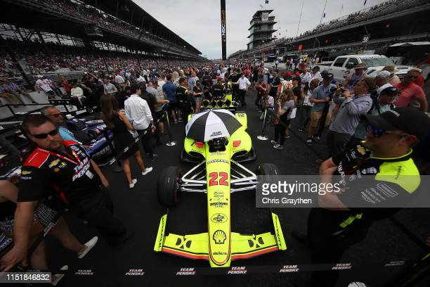 The car of Simon Pagenaud of France, driver of the Menards Team Penske Chevrolet is seen on the grid prior to the 103rd running of the Indianapolis...