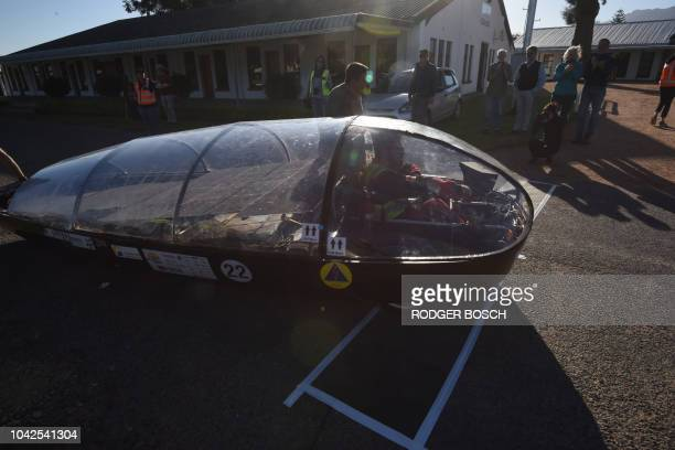 The car of the Central University of Technology a South African entrant finishes Day 7 of the Sasol Solar Challenge on September 28 in Swellendam...
