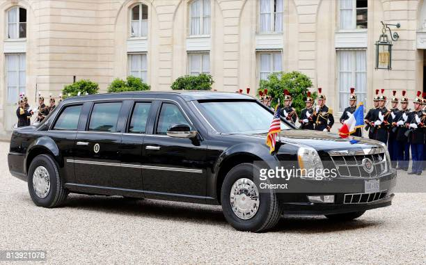 The car of US President Donald Trump arrives at the Elysee Presidential Palace on July 13 2017 in Paris France As part of the commemoration of the...