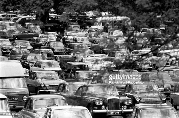 The car park for tourists visiting Woburn Abbey and Gardens in Bedfordshire, circa July 1969. From a series of images to illustrate the many...