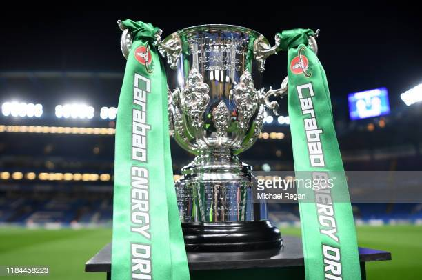 The Carabao Cup is seen pitchside prior to the Carabao Cup Round of 16 match between Chelsea and Manchester United at Stamford Bridge on October 30,...