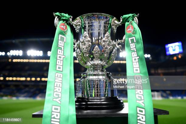 The Carabao Cup is seen pitchside prior to the Carabao Cup Round of 16 match between Chelsea and Manchester United at Stamford Bridge on October 30...