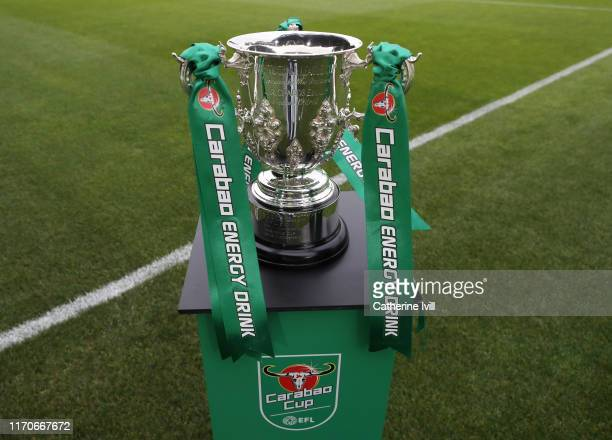 The Carabao Cup trophy ahead of the Carabao Cup Second Round match between Newport County and West Ham United at Rodney Parade on August 27 2019 in...