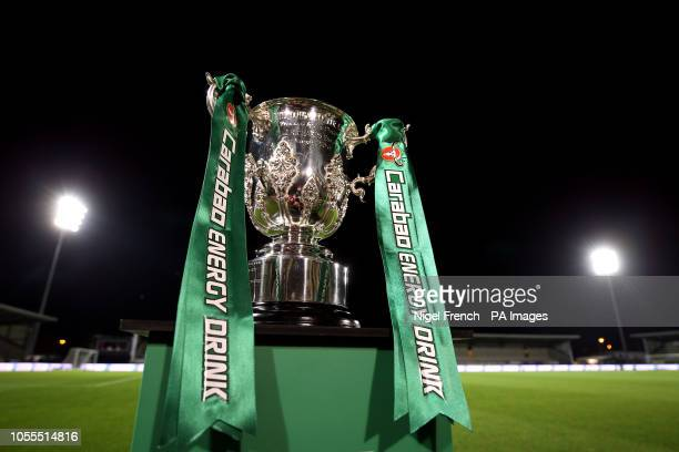 The Carabao Cup trophy on display on the pitch before the Carabao Cup Fourth Round match at the Pirelli Stadium Burton