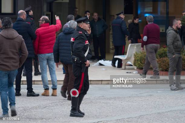 The carabinieri during the investigations for the reconstruction of the death of Pasquale D'Arco a 61yearold worker died at work falling from a...