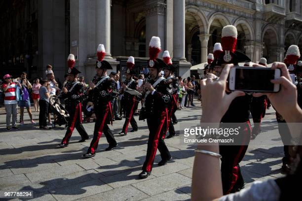 The Carabinieri military band performs during the celebrations of the Italian National Day on June 02 2018 in Milan Italy The Festa della Repubblica...