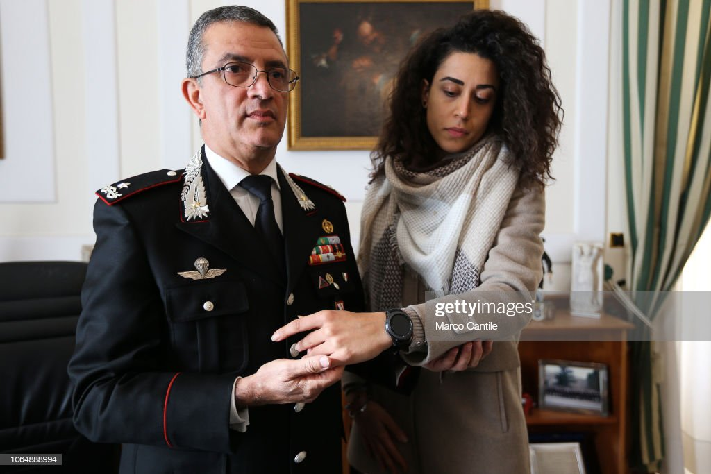 The Carabinieri show the anti-violence smartwatch to protect... : News Photo
