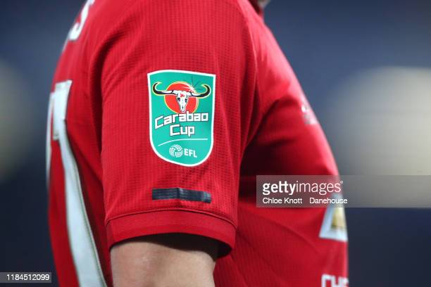 The Caraboa Cup logo on the sleve of Daniel James of Manchester United during the Carabao Cup Round of 16 match between Chelsea FC and Manchester...