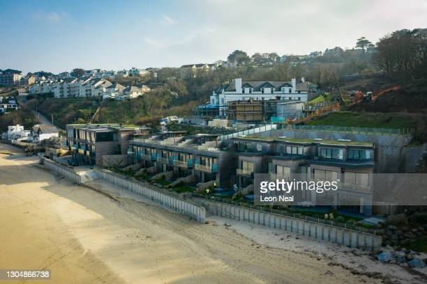 The Carbis Bay Estate hotel and beach, set to be the main venue for the upcoming G7 summit, is seen from a drone on March 01, 2021 in Carbis Bay,...