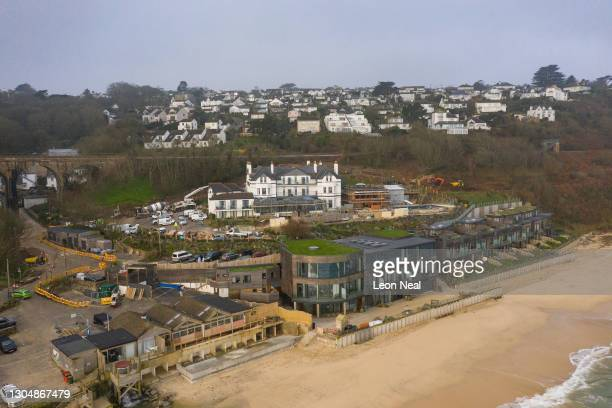 The Carbis Bay Estate hotel and beach, set to be the main venue for the upcoming G7 summit, is seen from a drone on March 02, 2021 in Carbis Bay,...