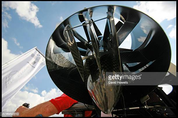 The carbon fiber rotors which produce 600lbs of thrust for the Martin Jetpack at the EAA airshow in Oshkosh Wisconsin The Martin Jetpack and...