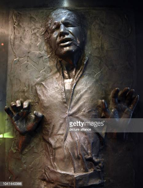 The carbonite block in which film character 'Hans Solo' was frozen can be seen during a press tour in the exhibition 'Star Wars Identities' in the...