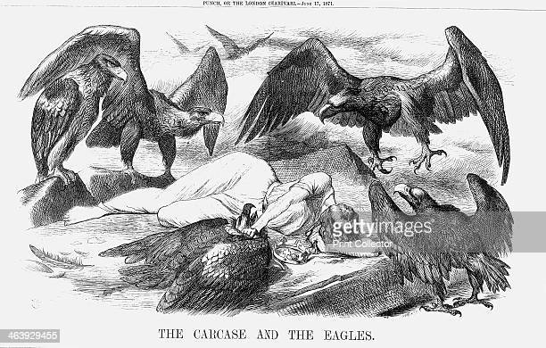 'The Carcase and the Eagles' 1871The dead body of France lies outstretched one hand holding down the wounded Eagle of Communism All around the other...