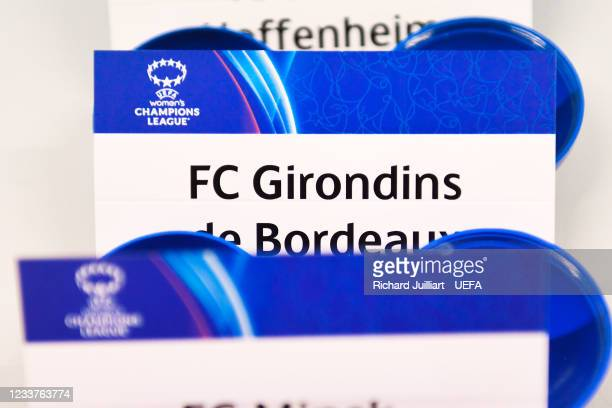 The card of FC Girondins de Bordeaux ahead of the UEFA Women's Champions League 2021/22 Round 1 draw at the UEFA headquarters, The House of European...