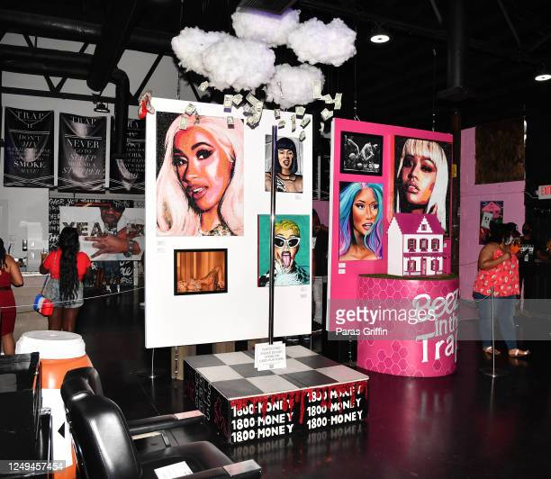 The Cardi B and Nicki Minaj exhibits are on display at The Trap Music Museum on June 13 2020 in Atlanta Georgia The Trap Music Museum reopened with...