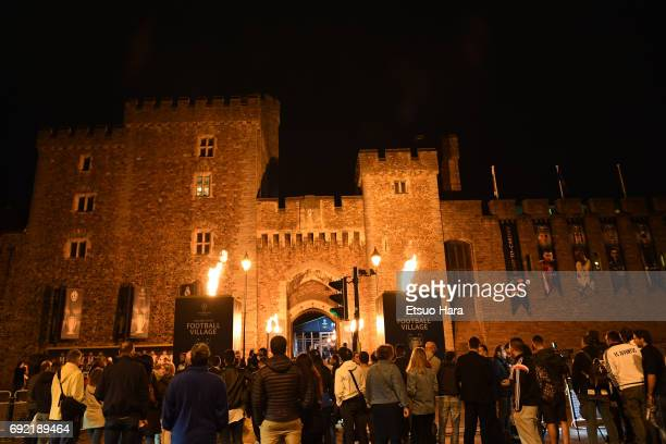 The Cardiff Castle is seen ahead of the UEFA Champions League final between Juventus and Real Madrid on June 2 2017 in Cardiff Wales