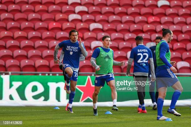 The Cardiff City players warm up before the Sky Bet Championship match between Middlesbrough and Cardiff City at Riverside Stadium on February 27,...