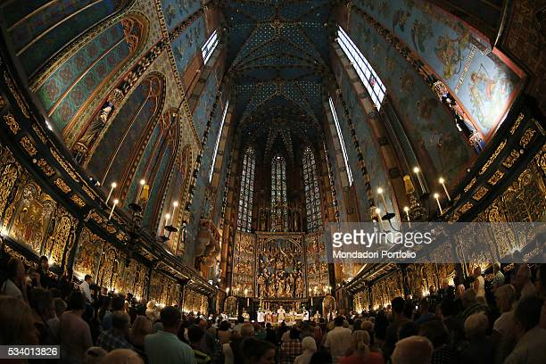 The cardinal Gerhard Ludwig Mueller celebrating the Holy Mass for the feast of the Assumption of the Virgin Mary at Saint Mary's Basilica Krakow...