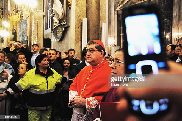 The Cardinal of Naples Crescenzio Sepe leads a ceremony on the day of the blood miracle at Naples Cathedral on April 30 2011 in Naples Italy Twice...