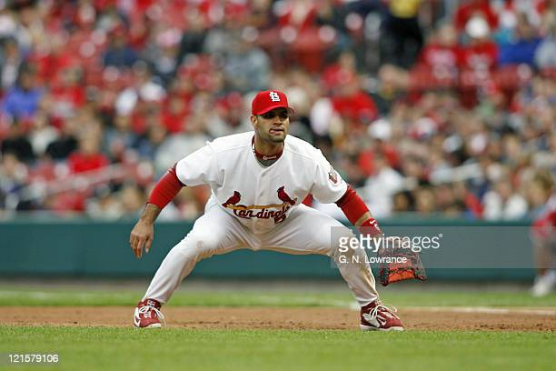 The Cardinal's Albert Pujols at his 1stbase position during action between the Arizona Diamondbacks and St Louis Cardinals at Busch Stadium in St...