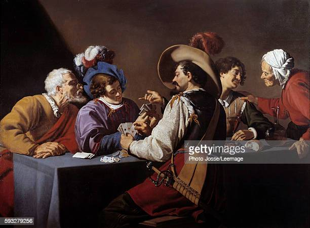 The cards players the 'brelan' Painting by Theodore Rombouts 17th century 152 x 206 m Koninklik Museum Antwerp Belgium