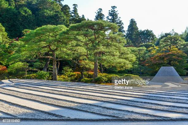 TEMPLE KYOTO KANSAI JAPAN The carefully raked sand and sand tower at the inner garden of GinkakuJi Temple in Kyoto Japan