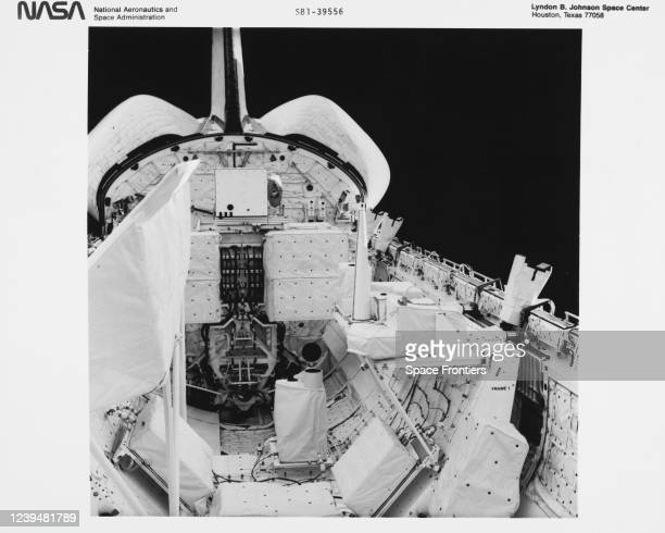 The cargo bay of NASA's Space Shuttle Columbia taken from inside the Shuttle's cabin, 12-14th November 1981; in the foreground, the pallet of...
