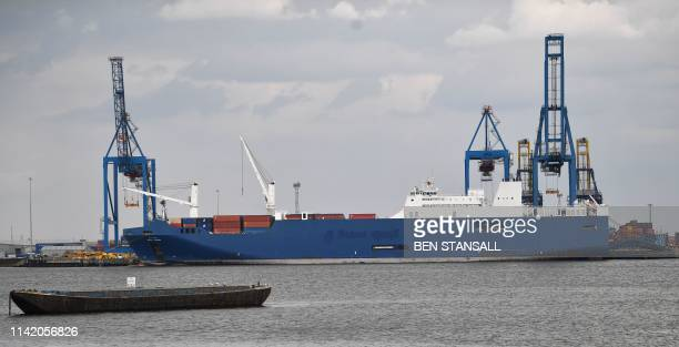 The cargo ship Bahri Yanbu is seen moored at Tilbury Docks at the Port of Tilbury in Essex as seen from the village of Swanscombe in Kent east of...