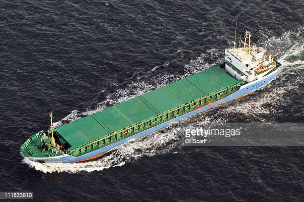 The cargo ship Eva Maria Muller is seen from the air in the English Channel on April 7 2011 in Dover England The chalk cliffs which stand over 100...