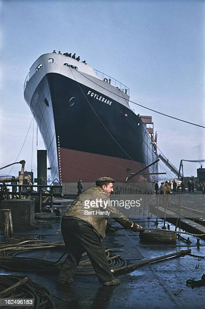 The cargo ship Foylebank under construction at the Harland Wolff shipyard in Belfast Northern Ireland June 1955 The ship was later renamed Patroclos...
