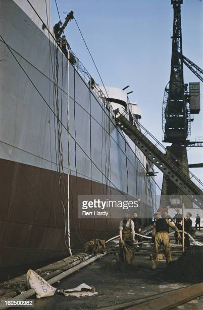 The cargo ship Port Melbourne under construction at the Harland Wolff shipyard in Belfast Northern Ireland June 1955 The ship was later renamed...
