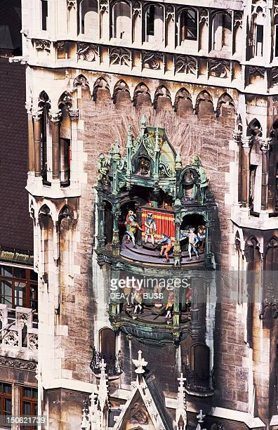 The carillon in the New Town Hall Marienplatz Munich Detail Germany 20th century