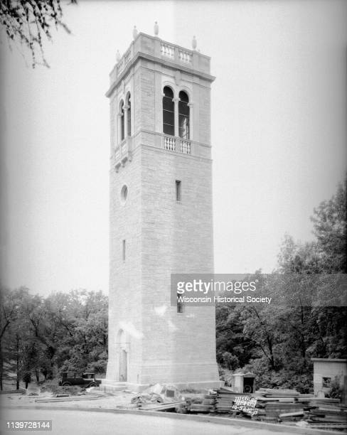 The Carillon Tower on the University of Wisconsin-Madison campus just after its completion, Madison, Wisconsin, June 5, 1935. Construction debris...