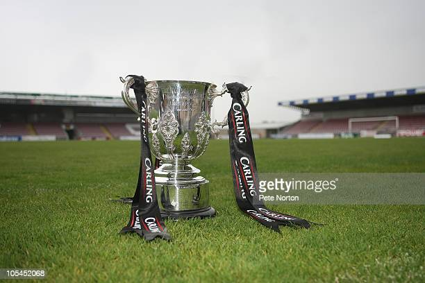 The Carling Cup is seen during a photo call held at the Sixfields Stadium on October 14 2010 in Northampton England