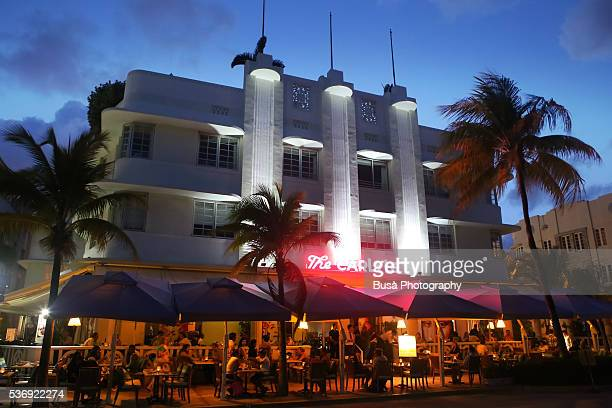 The Carlyle Condo building, along Ocean Drive in Miami Beach, at night