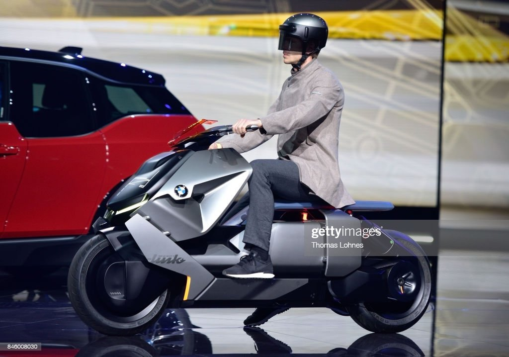 The carmaker BMW presents an electric concept motorbike at the 'Internationale Automobil-Ausstellung (IAA)' on September 12, 2017 in Frankfurt am Main, Germany. The Frankfurt Auto Show is taking place during a turbulent period for the auto industry. Leading companies have been rocked by the self-inflicted diesel emissions scandal. At the same time the industry is on the verge of a new era as automakers commit themselves more and more to a future that will one day be dominated by electric cars.