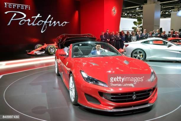 The carmaker Ferrari presents the new model Portofino at the 2017 Frankfurt Auto Show on September 12 2017 in Frankfurt am Main Germany The Frankfurt...