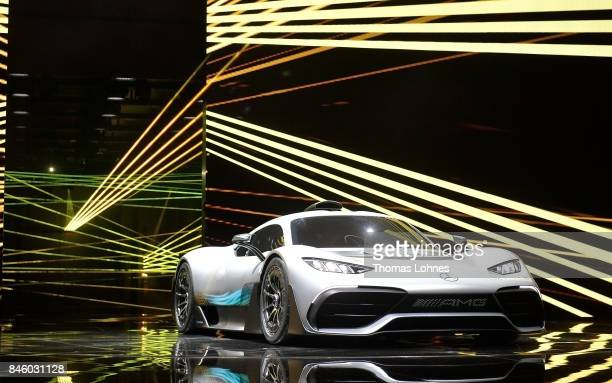 The carmaker Mercedes presents a new concept car Mercedes AMG 'Project one' at the MercedesBenz press conference at the 2017 Frankfurt Auto Show on...