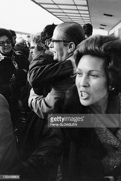 The carnation revolution in Lisbon, Portugal in May 1, 1974 - Airport, the return of the political exiles.