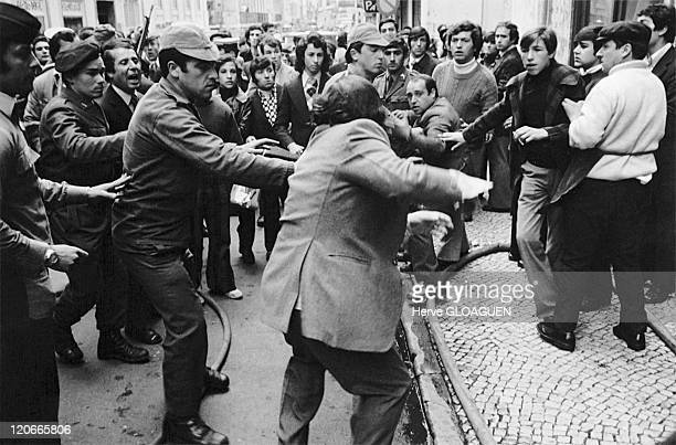The carnation revolution in Lisbon Portugal in May 1 1974 Arrest of a man who belongs to the former regime alleged collaborator