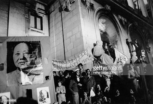 The carnation revolution in Lisbon, Portugal in May 1, 1974 - M.R.P.P. Demonstration.