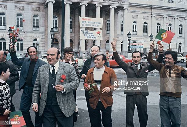 The carnation revolution in Lisbon, Portugal in May 1, 1974.