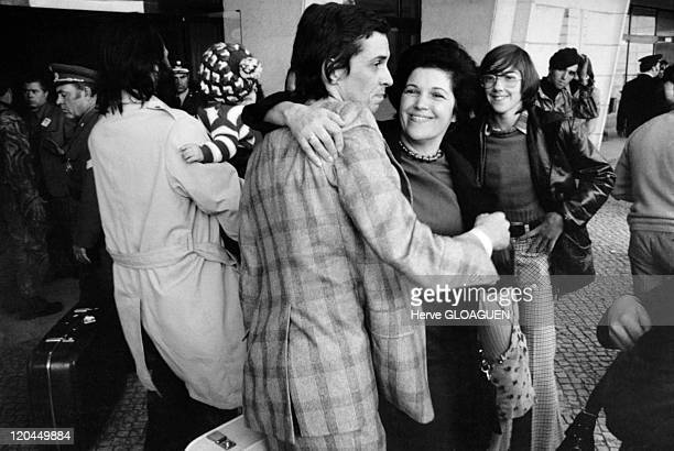 The carnation revolution in Lisbon, Portugal in May 1, 1974 - Return of people to Lisbon after political exile.