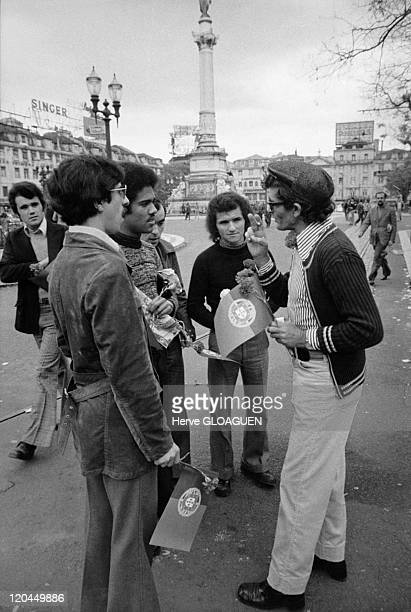 The carnation revolution in Lisbon, Portugal in May 1, 1974 - Rossio square.