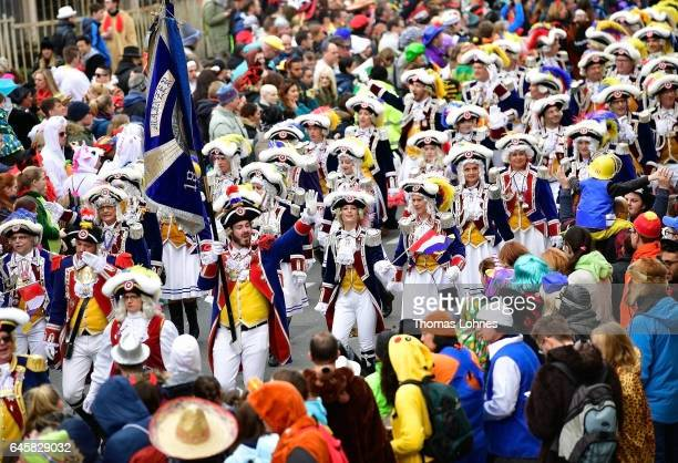 The carneval club 'Mainzer Ranzengarde' attend the annual Rose Monday parade on February 27 2017 in Mainz Germany Political satire is a traditional...
