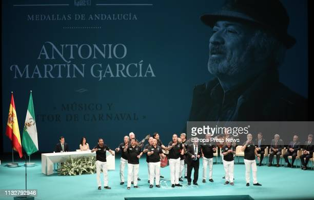 The carnival author Antonio Martin Garcia is seen during the institutional act on the occasion of the Andalusian Day with the delivery of the...